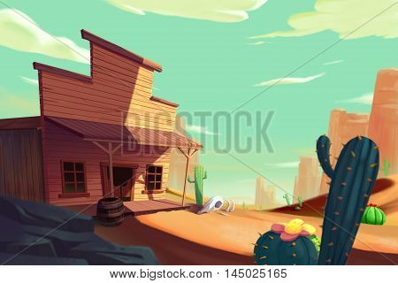 The West Saga, Cowboy's Town. Video Game's Digital CG Artwork, Concept Illustration, Realistic Cartoon Style Background