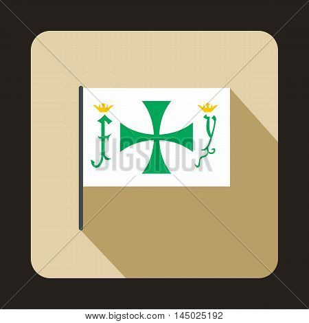 Columbus capitan flag icon in flat style isolated with long shadow