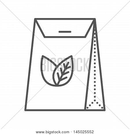 Tea packed in a paper bag. Packaging for herbal tea or spices. Vector flat icon. Thin line style. Outline illustration isolated on white background.