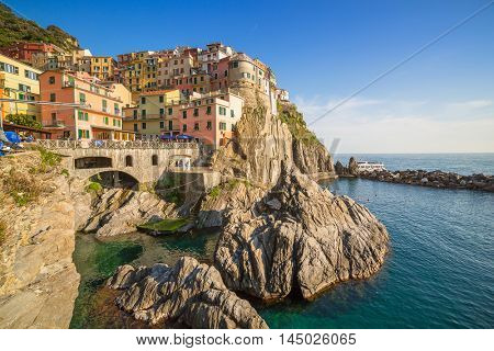Manarola town at the Ligurian Sea, Italy.