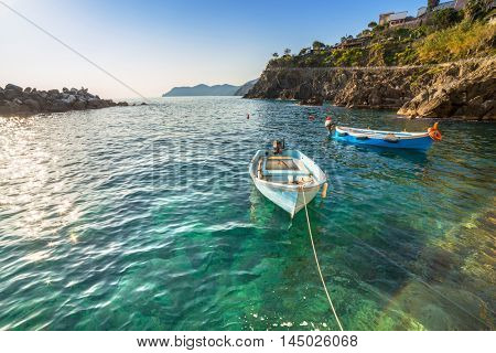 Fishing boats at the coast of Ligurian Sea, Italy