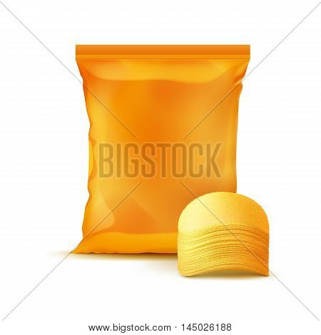 Vector Orange Vertical Sealed Foil Plastic Bag for Package Design with Stack of Potato Crispy Chips Close up Isolated on Background
