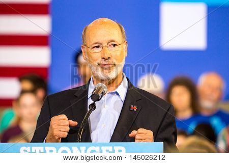 Lancaster PA - August 30 2016: Pennsylvania Governor Tom Wolf speaks at a campaign rally for Virginia Senator Tim Kaine Democrat Vice President Candidate.