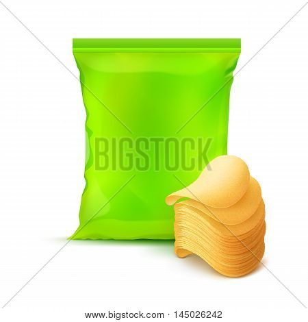 Vector Light Green Vertical Sealed Foil Plastic Bag for Package Design with Stack of Potato Crispy Chips Close up Isolated on Background