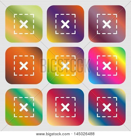 Cross In Square Sign Icon . Nine Buttons With Bright Gradients For Beautiful Design. Vector