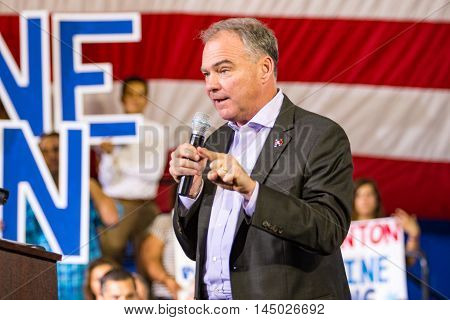 Lancaster PA - August 30 2016: Virginia Senator Tim Kaine Democrat Party Vice President Candidate and Hillary Clinton running mate speaks at a campaign rally.