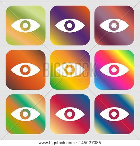 Eye, Publish Content, Sixth Sense, Intuition Icon. Nine Buttons With Bright Gradients For Beautiful