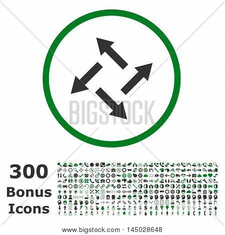 Centrifugal Arrows rounded icon with 300 bonus icons. Vector illustration style is flat iconic bicolor symbols, green and gray colors, white background.