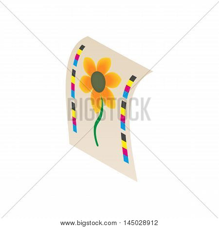 Flower printed on printer icon in cartoon style isolated on white background. Print symbol