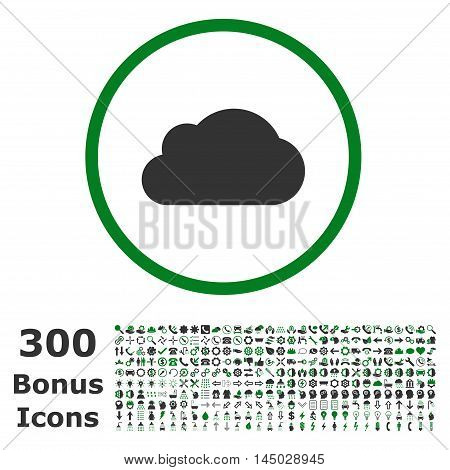 Cloud rounded icon with 300 bonus icons. Vector illustration style is flat iconic bicolor symbols, green and gray colors, white background.