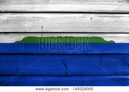 Flag Of Navassa Island (unofficial, Disputed), Painted On Old Wood Plank Background
