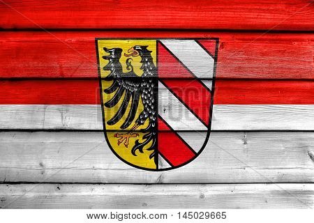 Flag Of Nuremberg, Germany, Painted On Old Wood Plank Background