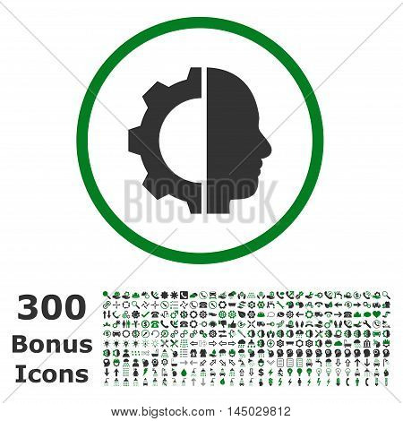 Cyborg Gear rounded icon with 300 bonus icons. Vector illustration style is flat iconic bicolor symbols, green and gray colors, white background.