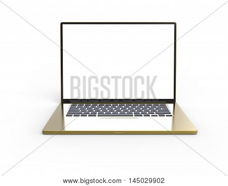 Illustration of 3D metal gold laptop isolated on white background