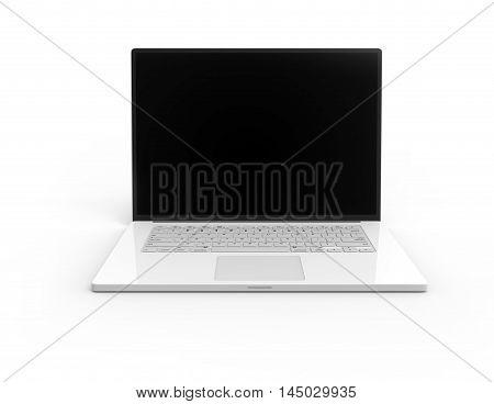 Illustration of 3D white laptop isolated on white background