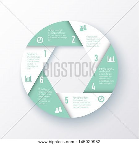Vector elements for infographics. Template for a pie chart of the eight parts. Business concept for presentation, annual report, web design.