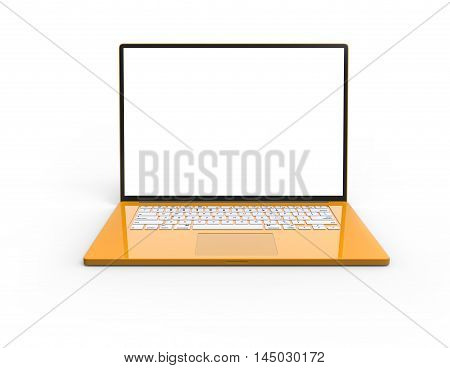 Illustration of 3D yellow glossy laptop isolated on white background