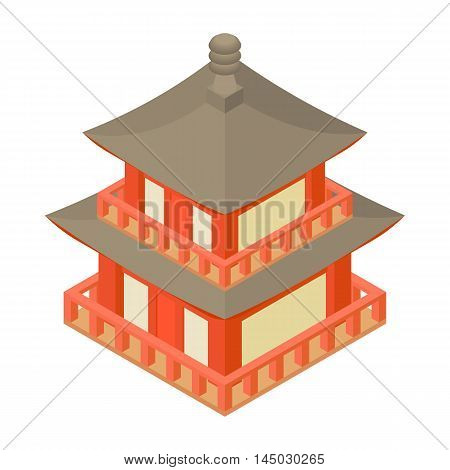 Pagoda icon in cartoon style isolated on white background. Temple symbol