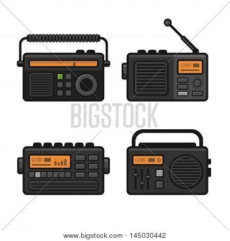 Radio Icon Set on White Background. Vector illustration