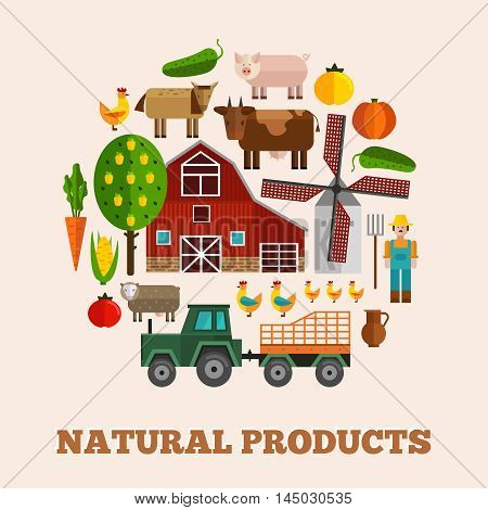 Round farm composition with colored and isolated icon set combined in big circle vector illustration
