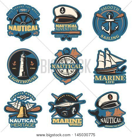 Nautical emblem set in color with smooth sailing nautical adventure marine life and other descriptions vector illustration