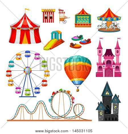 Amusement park colorful objects set of extreme attractions circus tent ticket and food stalls isolated vector illustration