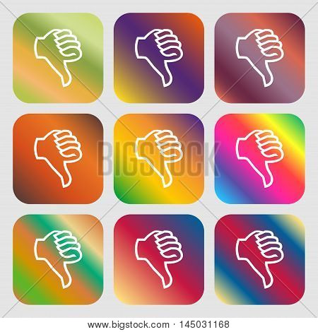 Dislike Sign Icon. Thumb Down. Hand Finger Down Symbol . Nine Buttons With Bright Gradients For Beau