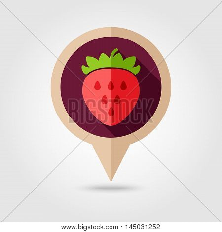 Strawberry flat vector pin map icon. Map pointer. Map markers. Berry fruit. Vector illustration eps 10