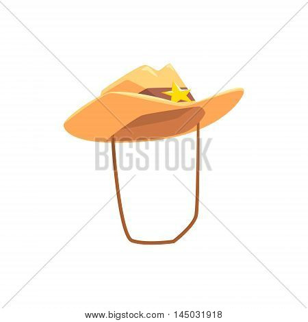 Cowboy Hat With Attaching String Drawing Isolated On White Background. Cool Colorful Wild West Themed Vector Illustration In Stylized Geometric Cartoon Design
