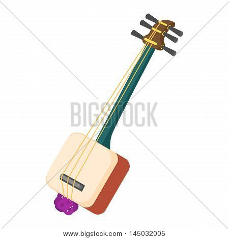 Musical instrument samisen icon in cartoon style isolated on white background. Sound symbol
