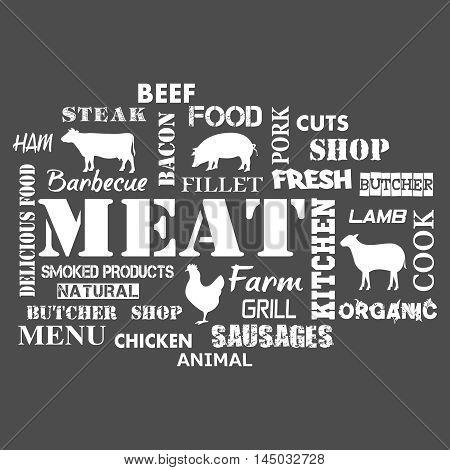 Meat. Text set of butcher . Vector illustration