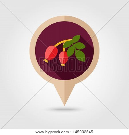 Rosehip branch with red berries flat vector pin map icon. Map pointer. Map markers. Berry fruit. Vector illustration eps 10