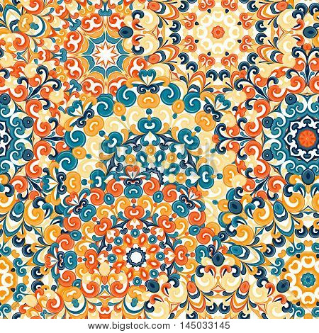 Seamless colorful ethnic pattern with mandalas in oriental style. Round doilies with blue yellow orange curls and swirls weaving in arabesque traditional lace ornament. Vector illustration