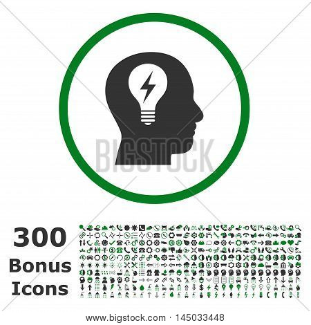 Head Bulb rounded icon with 300 bonus icons. Vector illustration style is flat iconic bicolor symbols, green and gray colors, white background.
