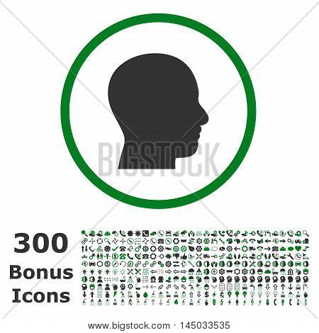 Head Profile rounded icon with 300 bonus icons. Vector illustration style is flat iconic bicolor symbols, green and gray colors, white background.