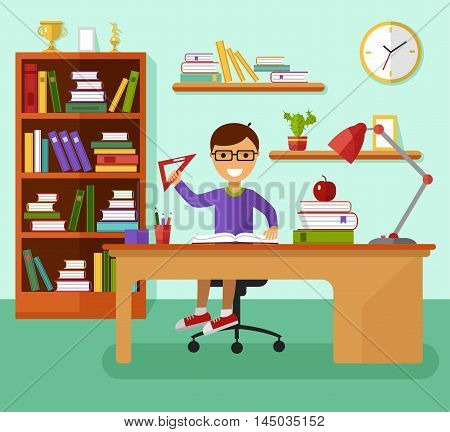Kid learns concept. Smiling boy in glasses reading book and learning in his room at the working desk, lamp, bookcase, ruler, files, book, prize goblets. Flat design vector illustration.