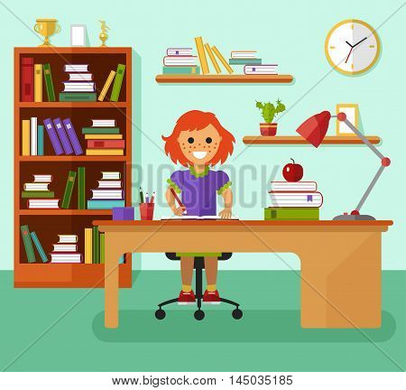 Kid learns concept. Smiling girl with freckles writes in notebook and learning in her room at the working desk, lamp, bookcase, files, book, prize goblets. Flat design vector illustration.