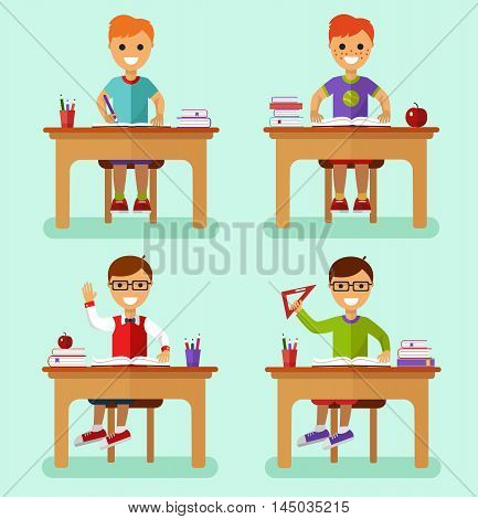 Flat design vector illustration of smiling boys sitting at the table with book, ruler, pencils, notebooks in classroom. Kids learns concept.