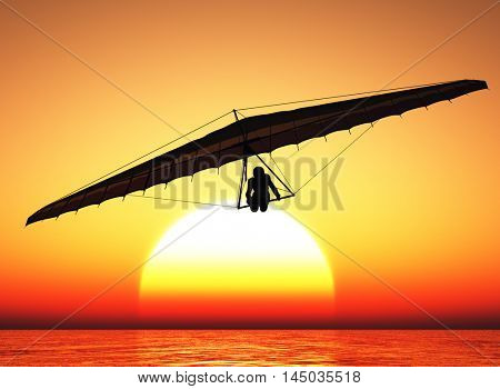 Hang glider in the sunset.3d render
