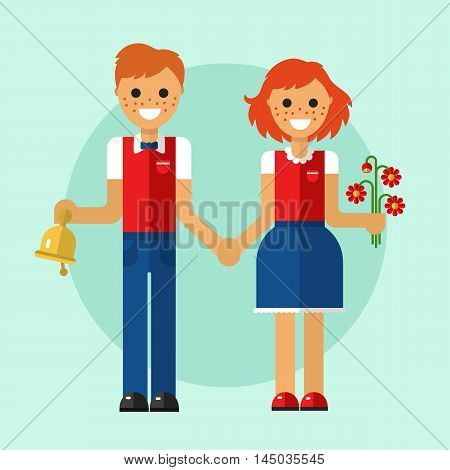 Flat design vector illustration of funny smiling boy and girl in school uniform holding their hands and going to school with bouquet of flowers and bell. Back to school concept.
