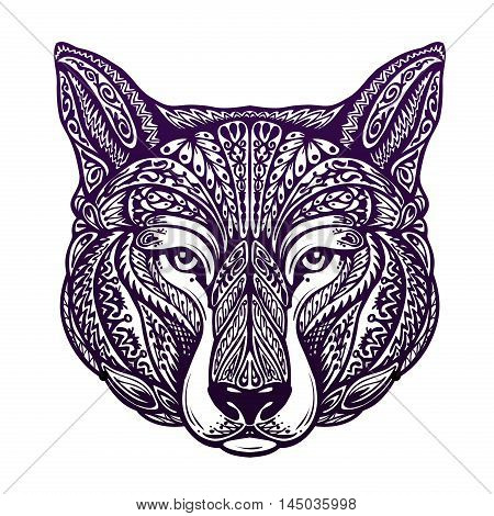 Dog, wolf painted tribal ethnic ornament. Vector illustration