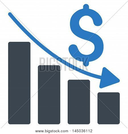 Sales Crisis Chart icon. Vector style is bicolor flat iconic symbol with rounded angles, smooth blue colors, white background.