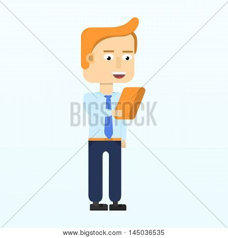 Happy business man character smiling isolated in flat style. Modern woman holding clipboard. Vector illustration.