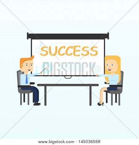 Projection screen. Modern business teachers giving lecture, training, seminar or presentation. Businessman, business coach standing in front of Projection screen. Flat Vector illustration