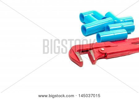 Pipe wrench plumbing fittings isolated on white background