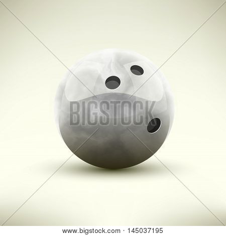 White or grey bowling ball isolated realictic vector illustration