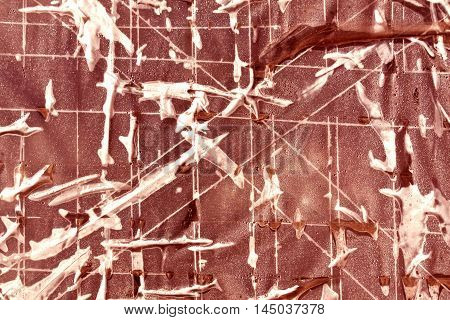 Surface Covered With Plastic Adhesive Tape.