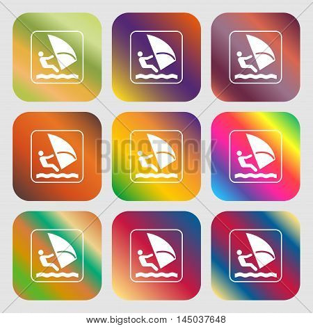 Windsurfing Sign Icon . Nine Buttons With Bright Gradients For Beautiful Design. Vector