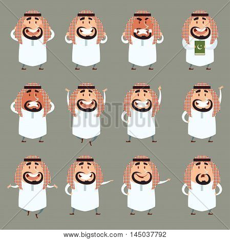 Vector image of the set of cartoon muslim icons