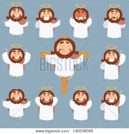 Vector image of the set of icons of Jesus